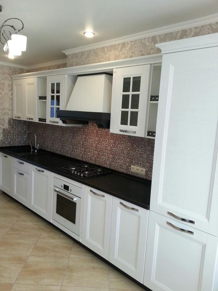 Белый кухонный гарнитур-Кухня МДФ в ПВХ «Модель 139»-фото1