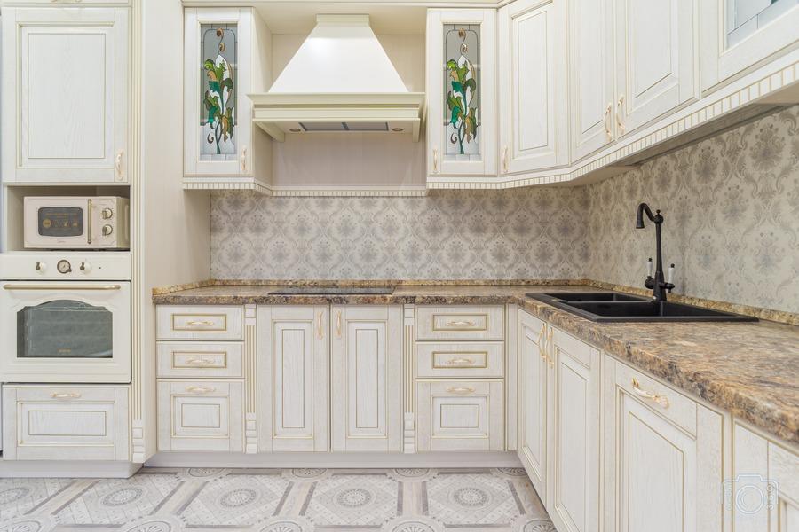Бежевые кухни-Кухня из шпона «Модель 8»-фото3