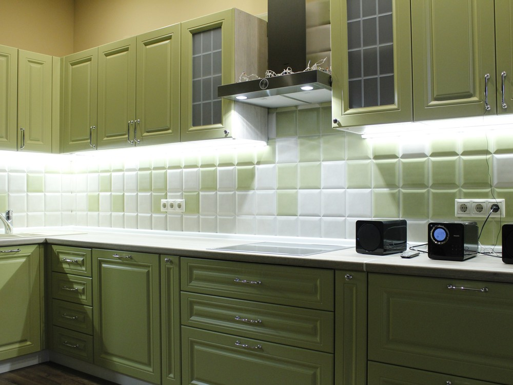 Встроенная кухня-Кухня МДФ в эмали «Модель 123»-фото1