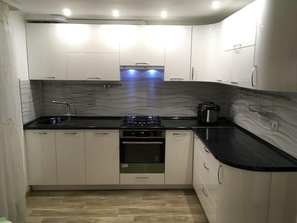 Белый кухонный гарнитур-Кухня МДФ в ПВХ «Модель 311»-фото4