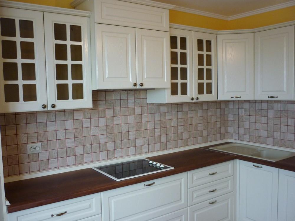Белый кухонный гарнитур-Кухня МДФ в ПВХ «Модель 246»-фото1
