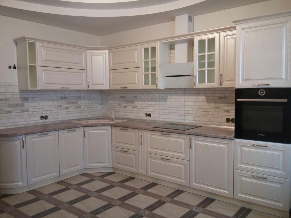 Белый кухонный гарнитур-Кухня МДФ в ПВХ «Модель 228»-фото1
