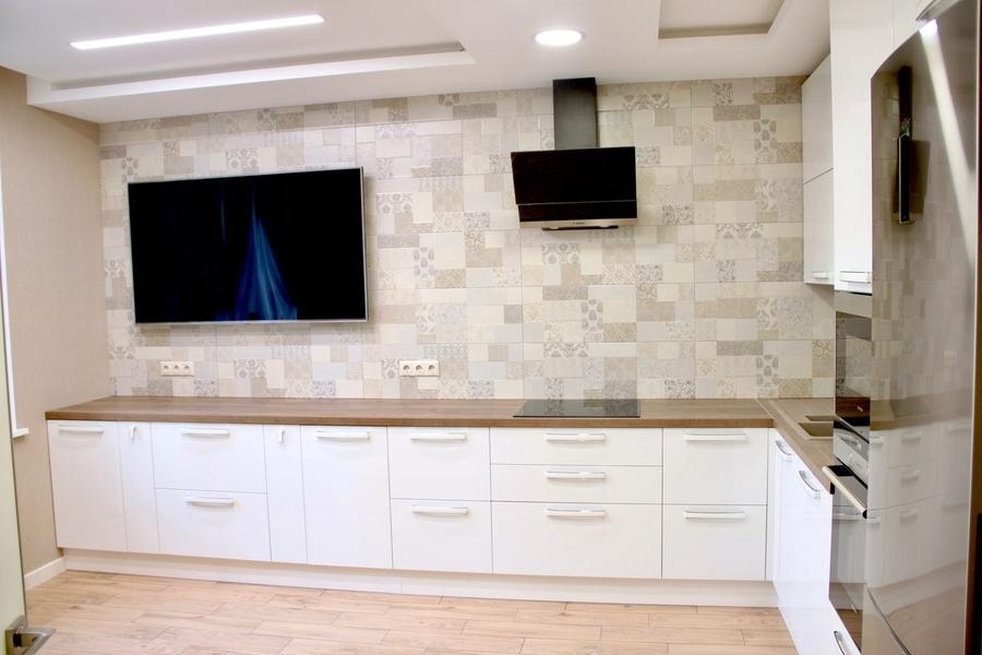 Белый кухонный гарнитур-Кухня МДФ в эмали «Модель 289»-фото1