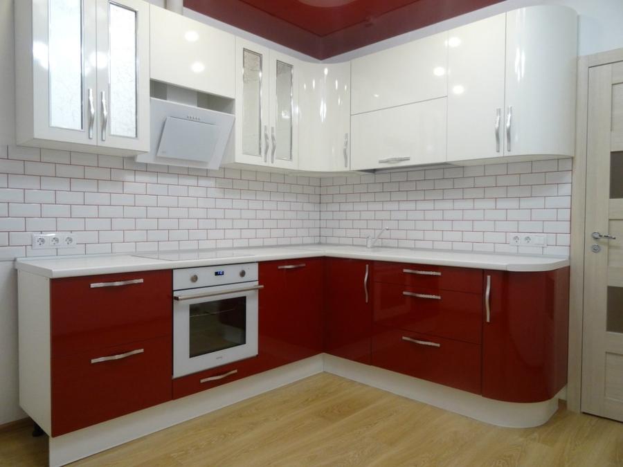 Белый кухонный гарнитур-Кухня из пластика «Модель 365»-фото1