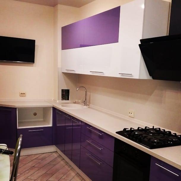 Белый кухонный гарнитур-Кухня из пластика «Модель 489»-фото1