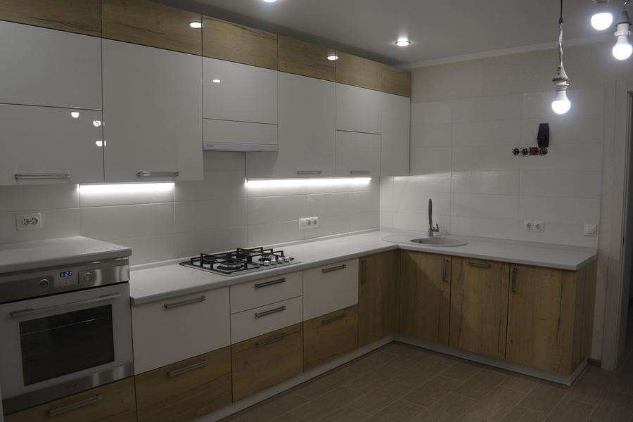 Белый кухонный гарнитур-Кухня из пластика «Модель 459»-фото1