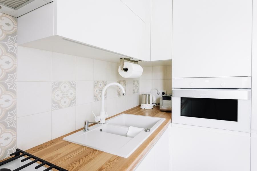 Белый кухонный гарнитур-Кухня МДФ в эмали «Модель 404»-фото4