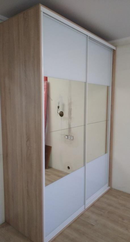 Белые шкафы-купе-Шкаф-купе с зеркалом «Модель 412»-фото2