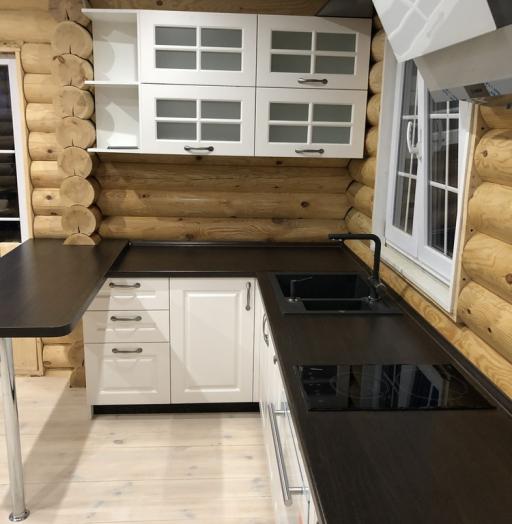 Белый кухонный гарнитур-Кухня МДФ в эмали «Модель 72»-фото3